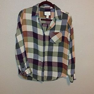 Plaid grunge style forever 21 button down
